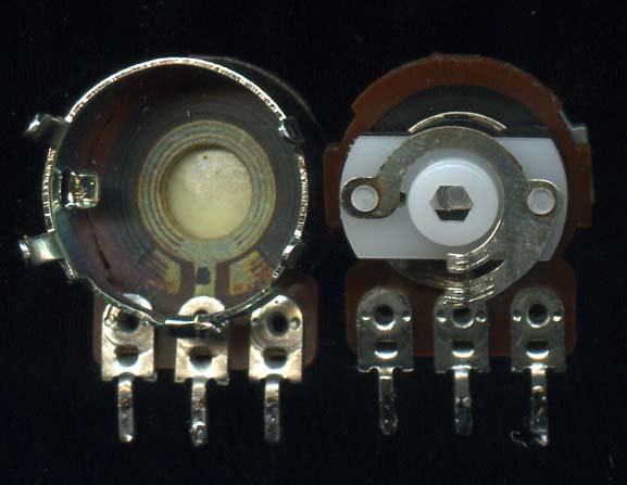 Переменный резистор, вид изнутри